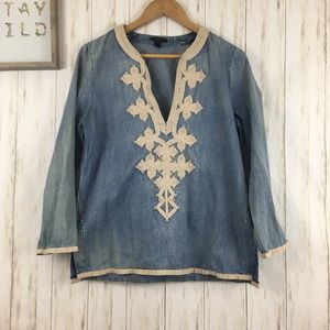 J. Crew Embroidered Tunic in Chambray Sz 10